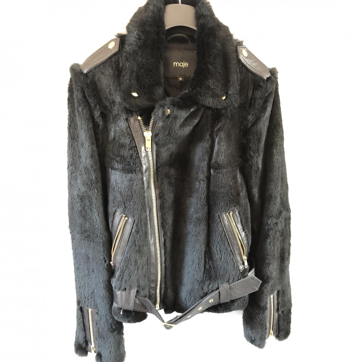 Maje \N Black Rabbit Leather jacket for Women 38 FR
