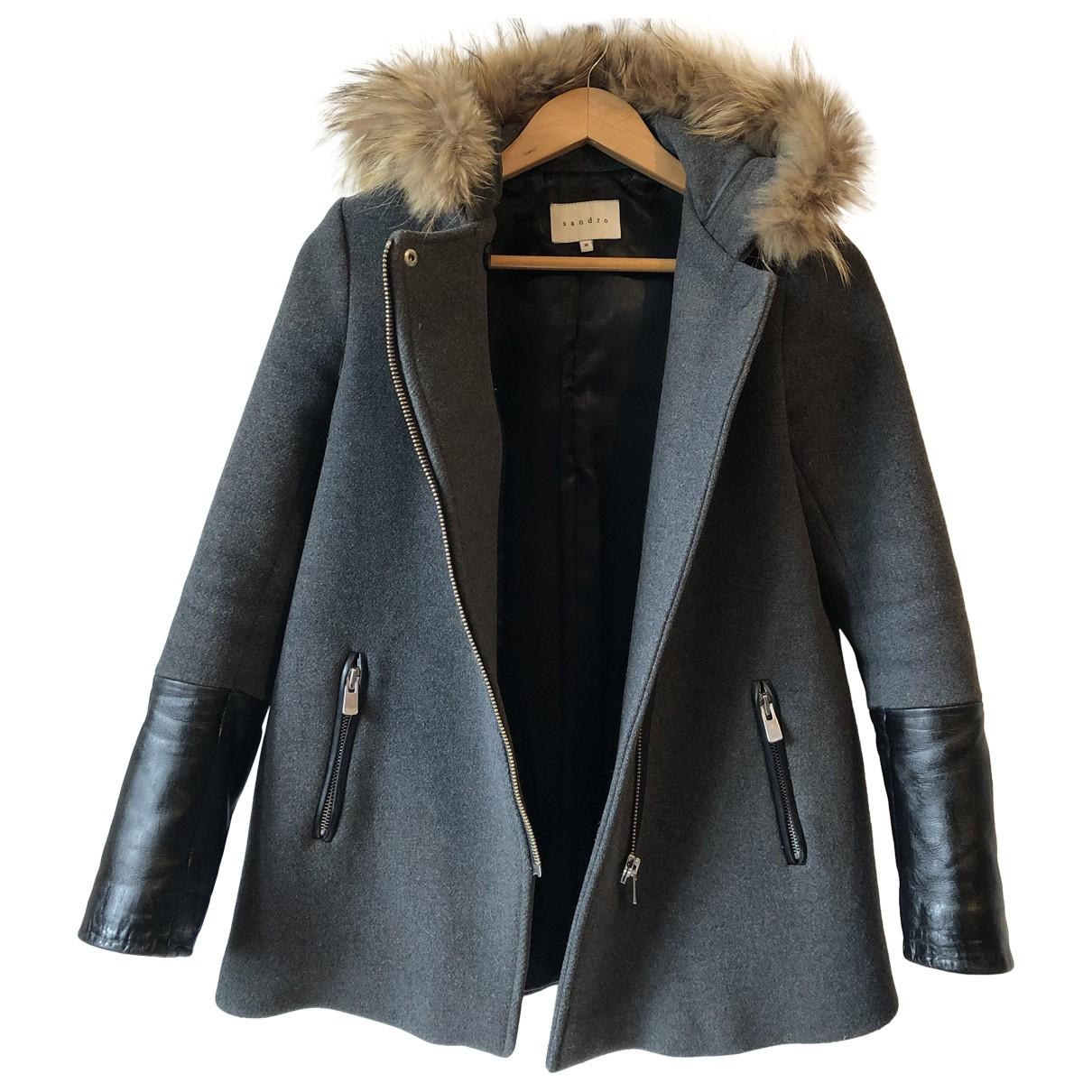 Sandro - Manteau   pour femme en laine - gris
