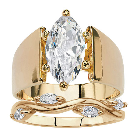 Womens 3 CT. T.W. White Cubic Zirconia 14K Gold Over Brass Engagement Ring, 6 , No Color Family