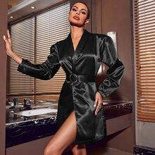 Shawl Collar Buckle Belted Satin Blazer Dress
