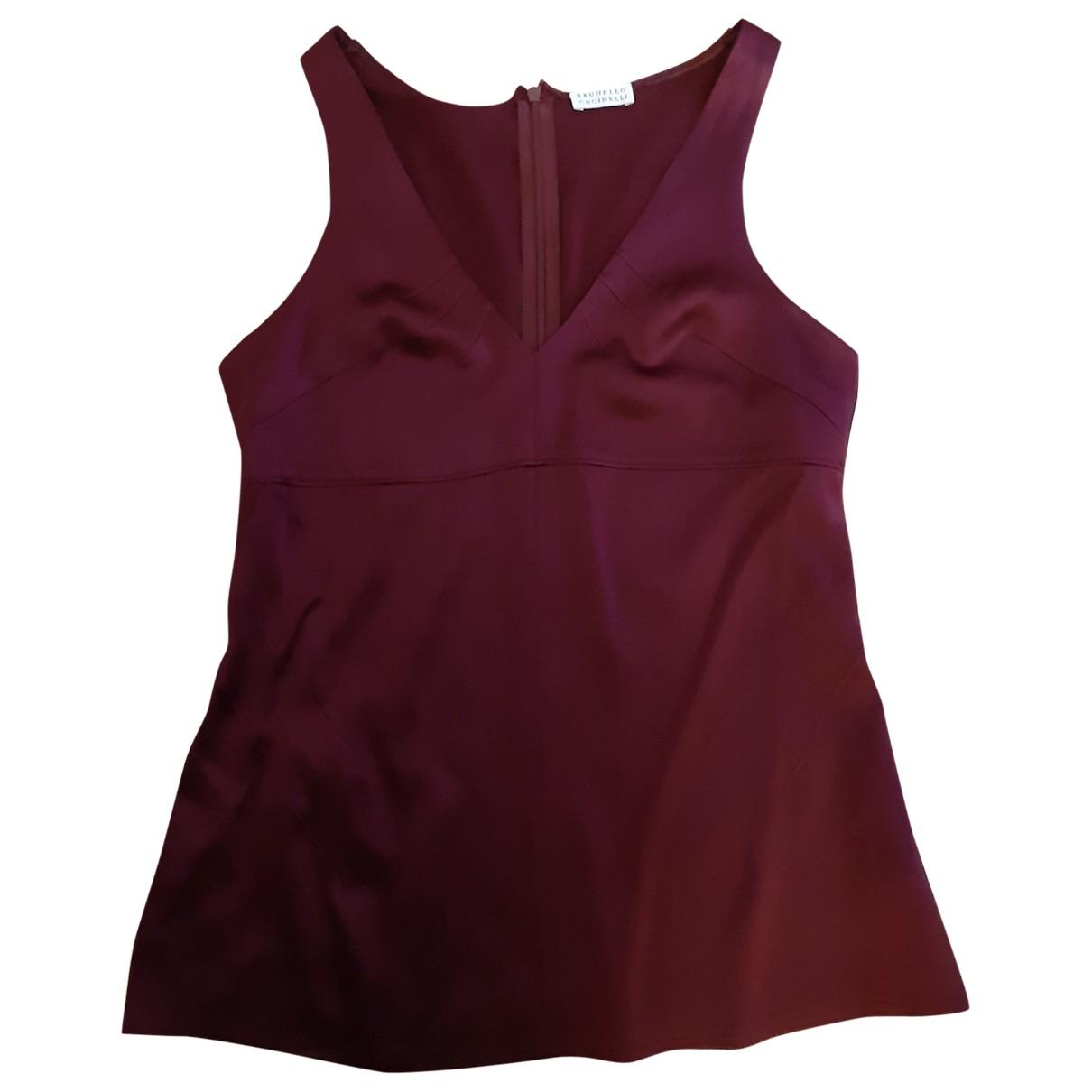 Brunello Cucinelli \N Burgundy Silk  top for Women 38 FR