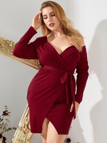 YOINS Plus Size V-neck Belt Design Wrap Design Long Sleeves Dress