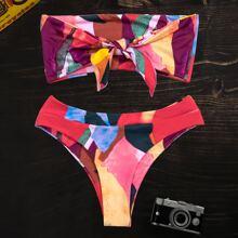 Bandeau Bikini Badeanzug mit kompletter Grafik und Knoten vorn