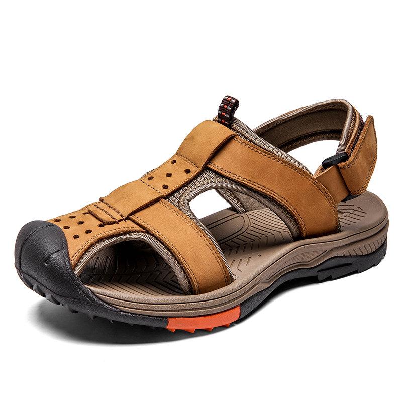 Men Genuine Leather Non Slip Anti-collision Hook Loop Outdoor Sandals