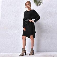 High Low Hem Sweater Dress Without Belt