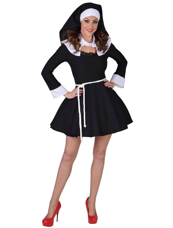Damen-Kostuem Kleid Sexy Nonne deluxe Damen L Grosse: L