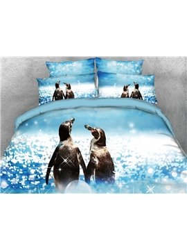 Couple Penguins Walking by the sea Printed 4-Piece 3D Bedding Sets/Duvet Covers