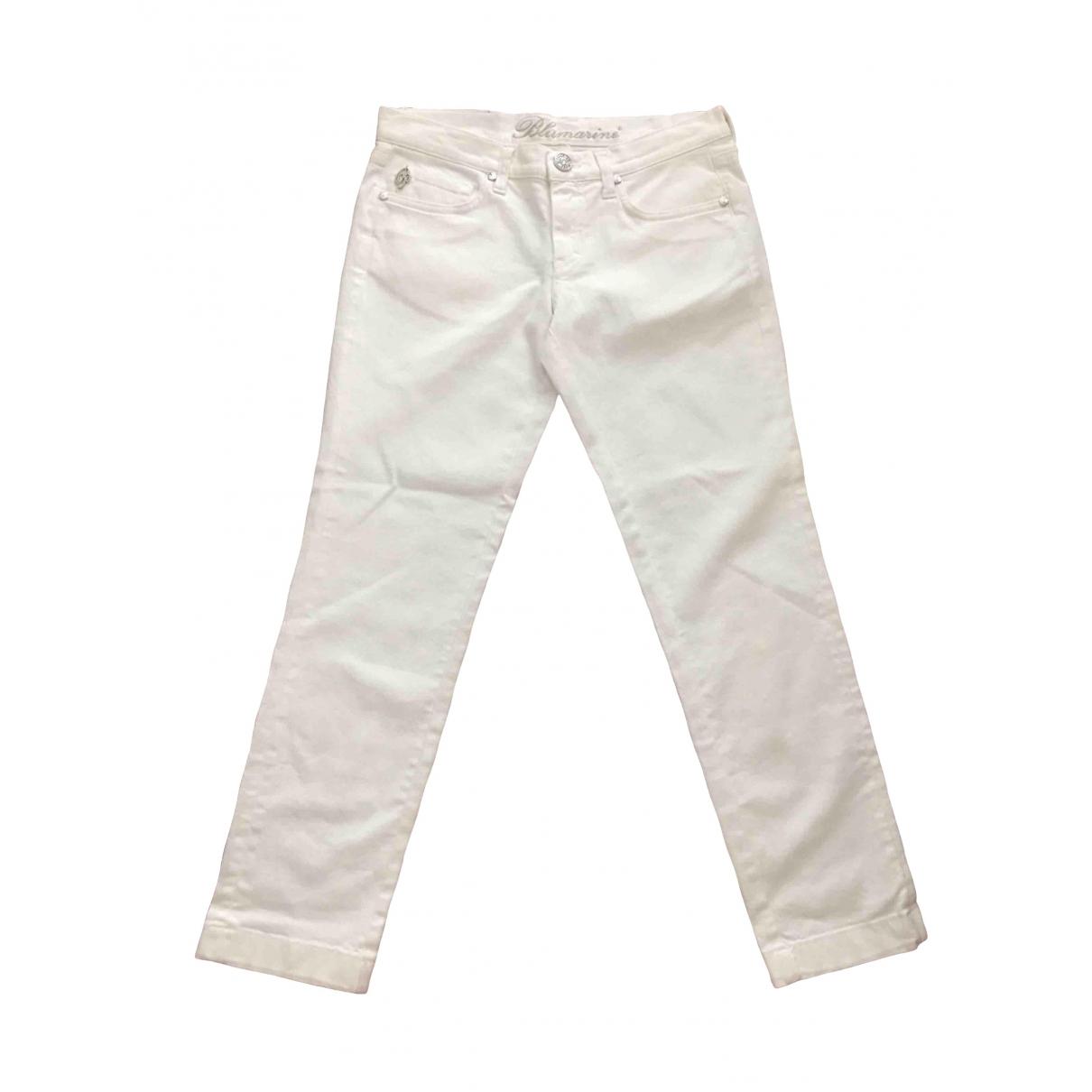 Pantalon en Algodon Blanco Blumarine