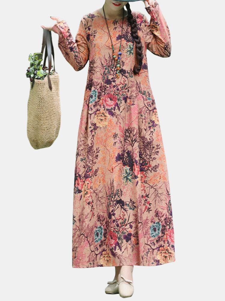 Floral Print O-neck Long Sleeve Maxi Cotton Dress