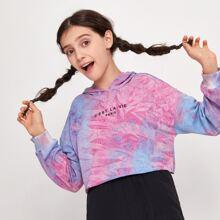 Girls Tie Dye Slogan Graphic Hoodie