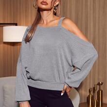 Asymmetrical Neck Drop Shoulder Rib-knit Oversized Pullover