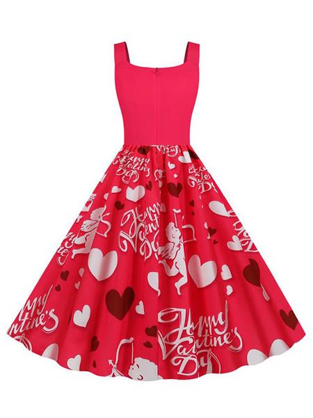 Milanoo Vintage Dress 1950s U Neck Sleeveless Printed Swing Dress