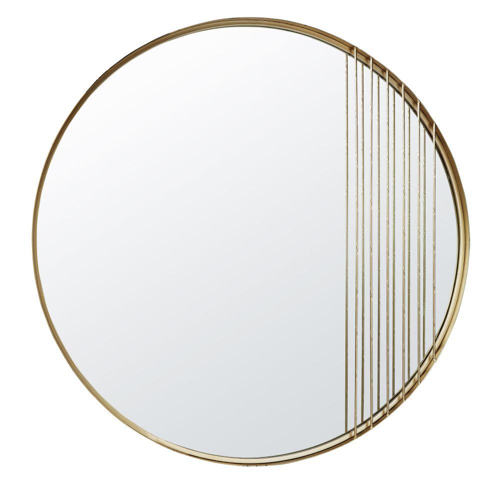 Runder Spiegel aus Metall, goldfarben D.90