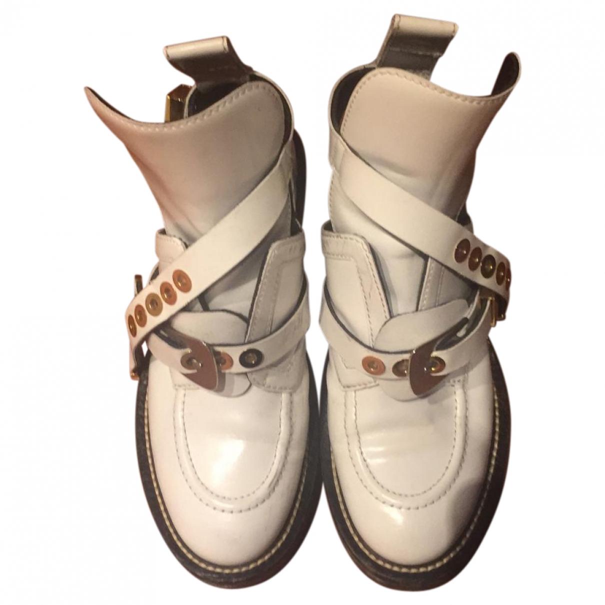 Balenciaga - Boots Ceinture pour femme en cuir - blanc