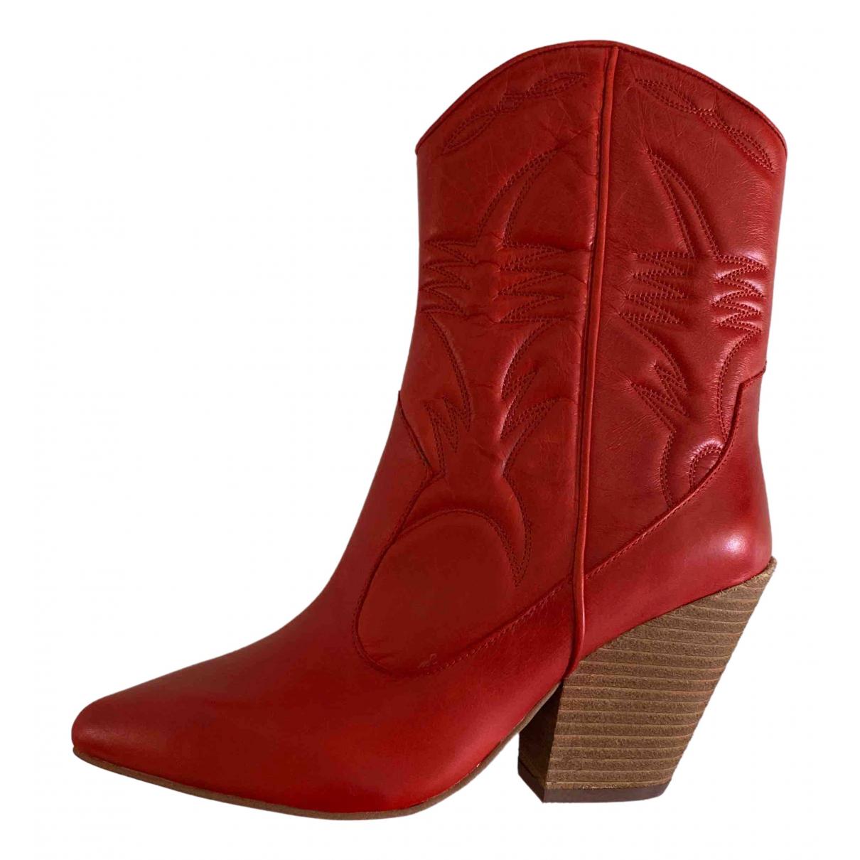 Jeffrey Campbell - Bottes   pour femme en cuir - rouge