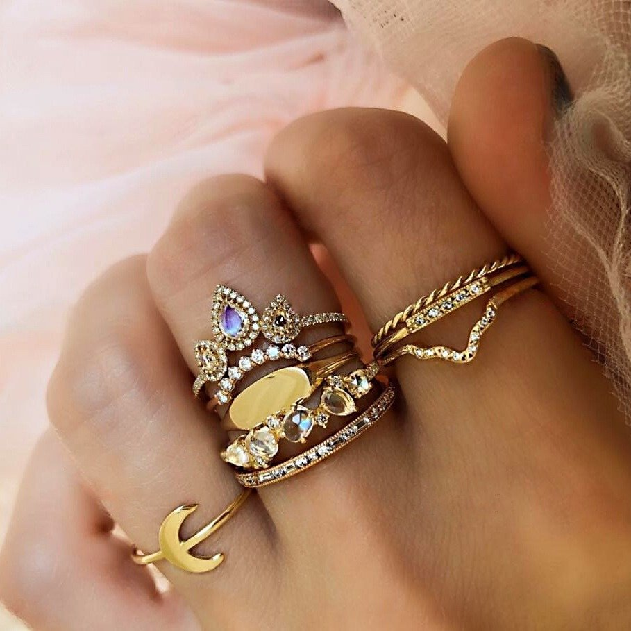 Ethnic Colorful Diamond Rings Set Retro Gold Moon Rhinestone Rings 9 Piece Rings For Women