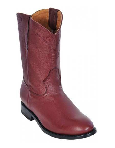 Los Altos Men's Burgundy Deer Roper Leather Boots With Rubber Sole