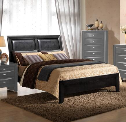 Emily Collection EM1500-T Twin Size Sleigh Bed with Faux Leather Headboard Panels  Low Profile Footboard and Tropical Hardwood Construction in Black