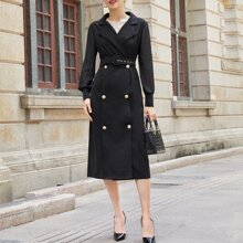Notched Collar Double Breasted Belted Blazer Dress