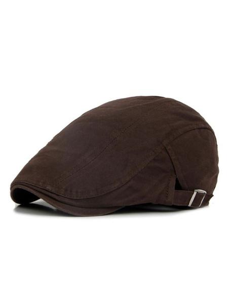 Milanoo Men Cotton Hat Adjustable Buckle Flat Cap