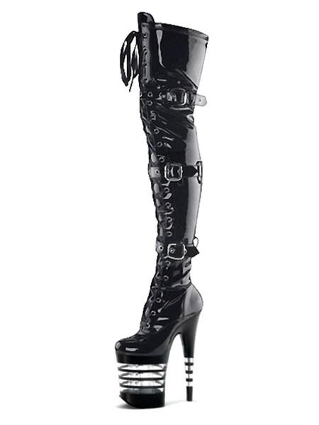 Milanoo Botas sexy para mujer Punta redonda con cordones Hebilla Cono Tacon Rave Club Muslo negro Botas altas Zapatos de stripper