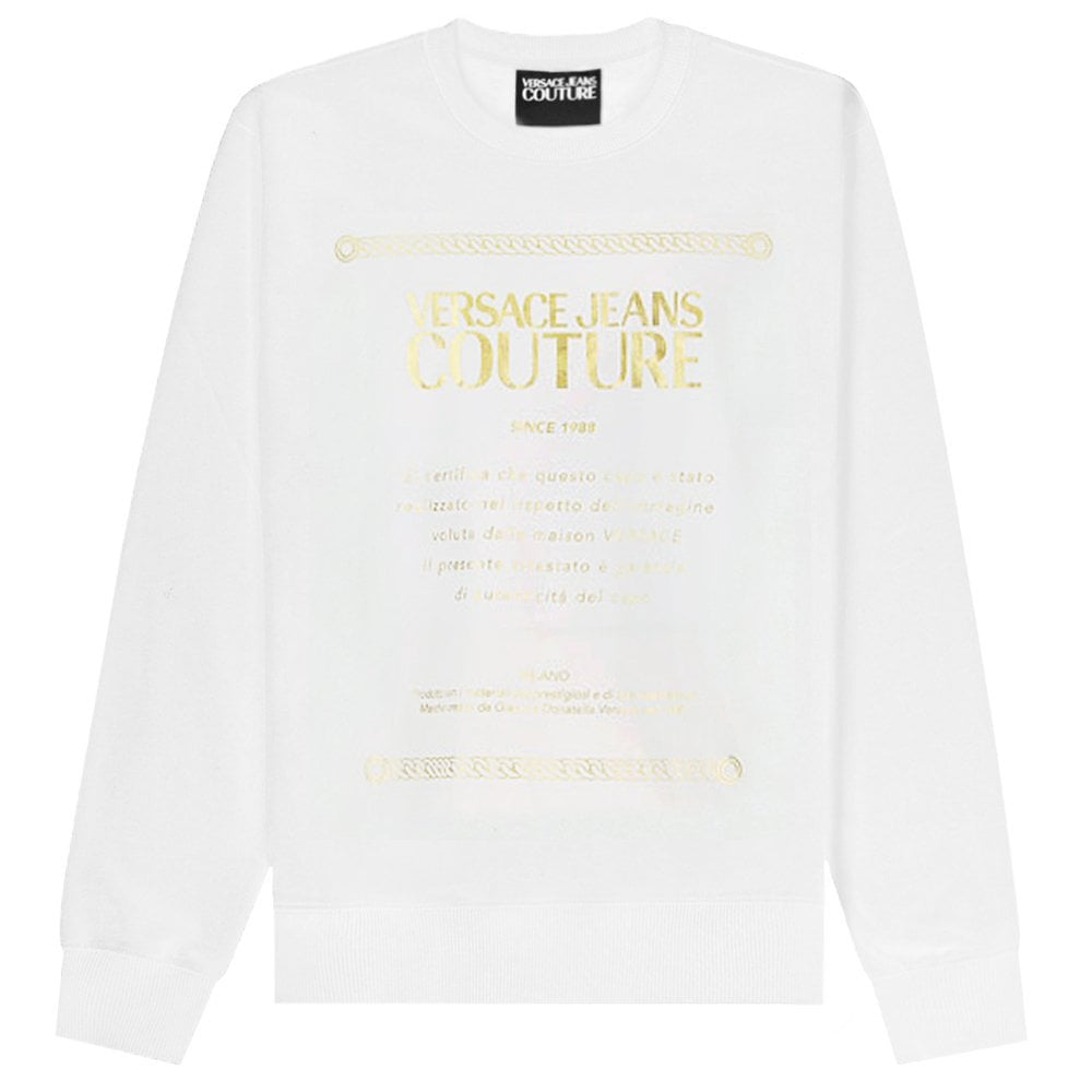 Versace Jeans Couture Logo Plaque Sweatshirt Colour: WHITE, Size: LARGE