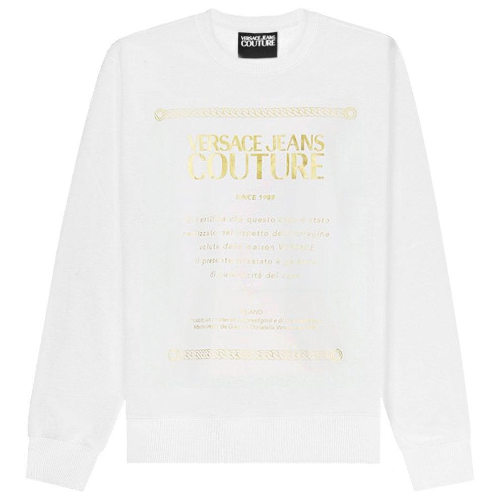 Versace Jeans Couture Logo Plaque Sweatshirt Colour: WHITE, Size: LARGE