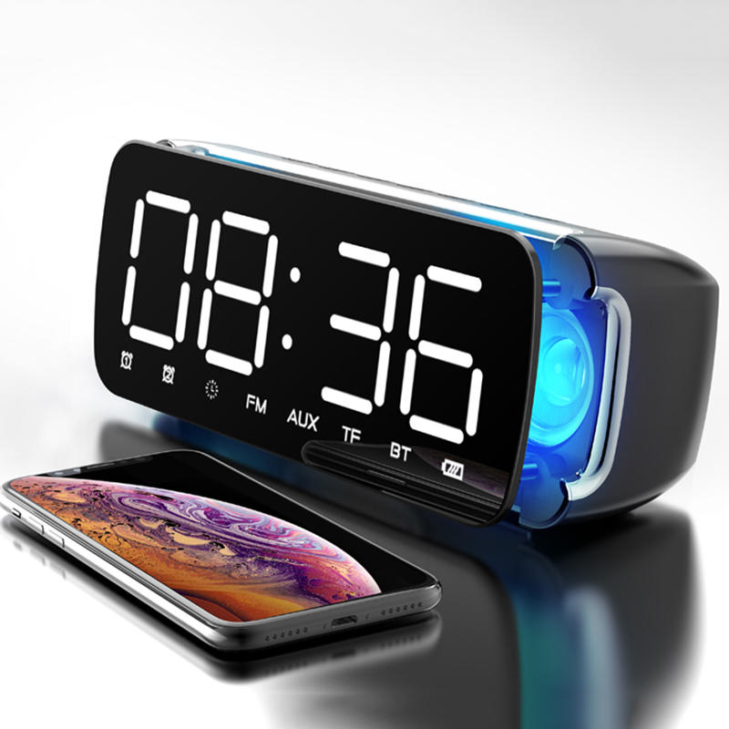 Sansui T68 Wireless bluetooth Speaker Dual Driver Alarm Clock LED Display Stereo Soundbar Subwoofer with Mic