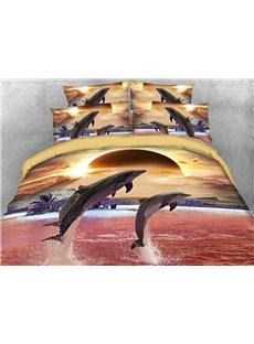 3D Jumping Dolphins Buffy Soft Warm Bedding Set 4Pcs Duvet Cover Set with Zipper Ties