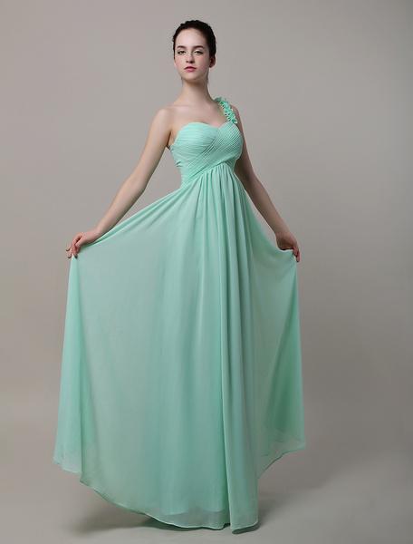 Milanoo Vestido de damas de honor de chifon con escote a un solo hombro y adorno arrugado