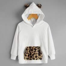Hoodie mit Kontrast Leopard Muster und 3D Ohr Flicken