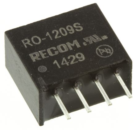 Recom RO 1W Isolated DC-DC Converter Through Hole, Voltage in 10.8 → 13.2 V dc, Voltage out 9V dc