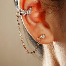 1pc Rhinestone Moon Decor Ear Cuff