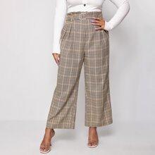 Hose mit Papiertasche Taille, Schnalle und Karo Muster