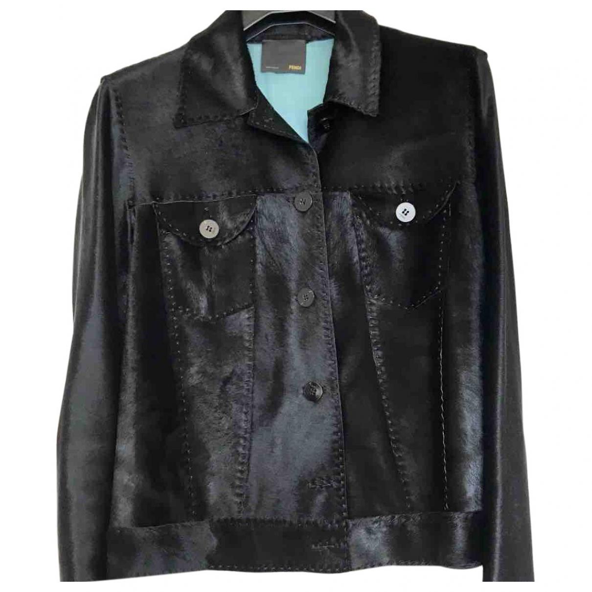 Fendi \N Black Leather Leather jacket for Women 42 IT