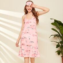 Rainbow & Slogan Graphic Cami Night Dress With Eye Cover