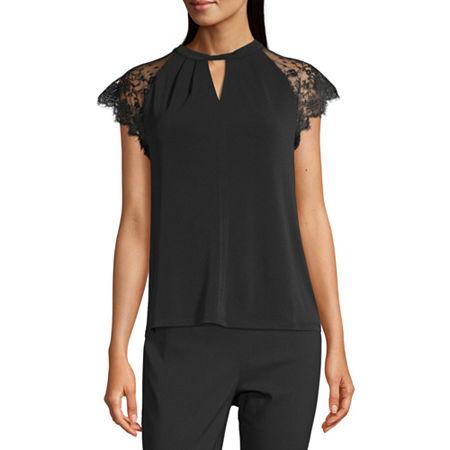 Worthington Womens Keyhole Neck Short Sleeve Blouse, Xx-large , Black