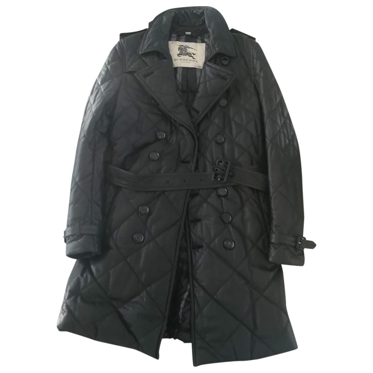 Burberry - Manteau   pour femme en cuir - noir