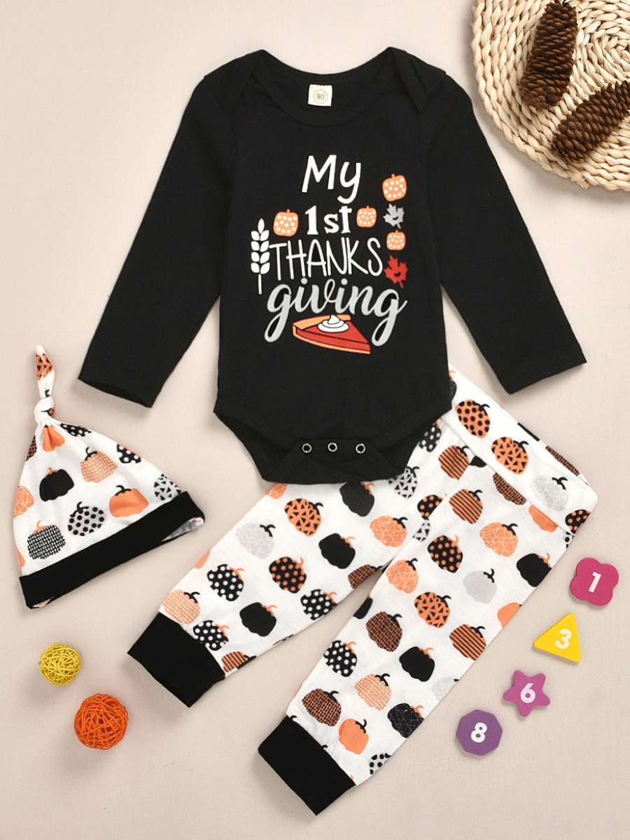 LW lovely Leisure O Neck Letter Print Black Girl Two-piece Pants Set