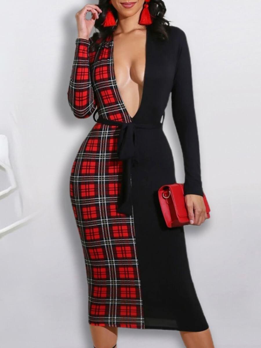 LW Lovely Stylish Deep V Neck Grid Print Patchwork Red Knee Length Dress