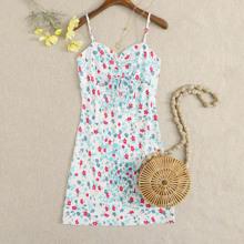 Cami Kleid mit ueberallem Blumen Muster und Kordelzug vorn