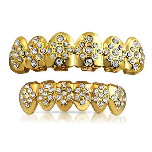 Gold Grillz Diamond Ice Pattern Teeth Set