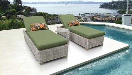 Coast Collection COAST-2x-ST-CILANTRO Patio Set with 2 Chaises   1 Side Table - Beige and Cilantro