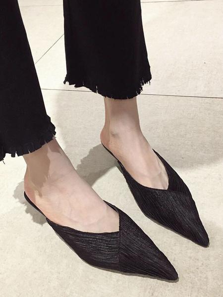 Milanoo Kitten Heel Mules Satin Black Pointed Toe Slip On Slide Shoes