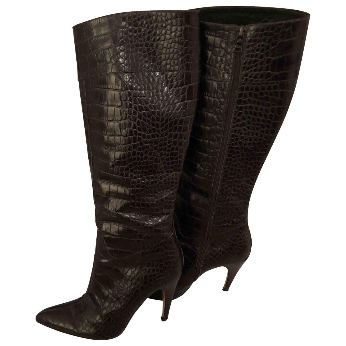 Prada - Bottes   pour femme en alligator - marron
