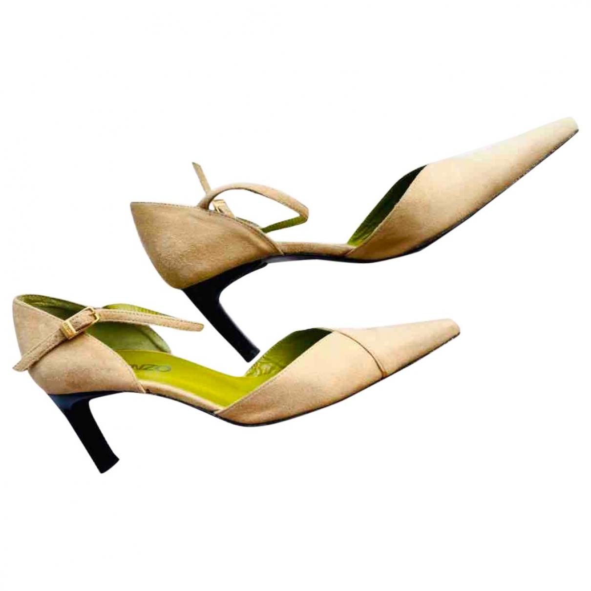 Kenzo - Escarpins   pour femme en suede - beige