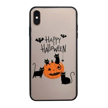 iPhone Huelle mit Halloween Kuerbis & Katze Muster