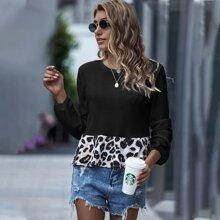 Strick T-Shirt mit Leopard Muster