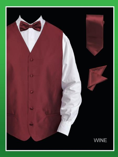 Mens 4 Piece Vest Set  Twill Textured Wine