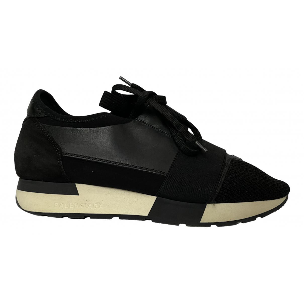 Balenciaga Race Sneakers in  Schwarz Leinen